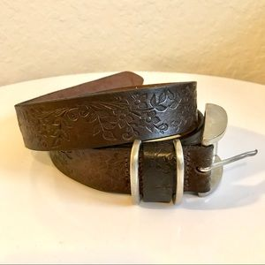 Accessories - Brown leather belt with floral detail
